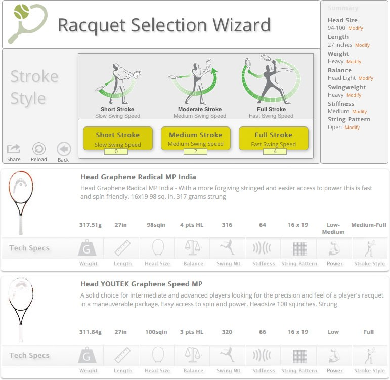 iTennis Tennis Racquet Selection Wizard