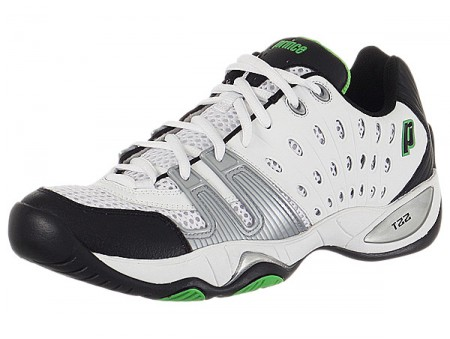 Prince T22 White/Black/Green Mens Tennis Shoes